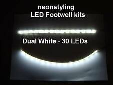 twin 12v WHITE LED interior footwell light waterproof & flexible under car neon