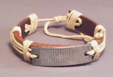 "Christian Bracelet BROWN Leather Etched ""Padre Nuestro"" Our Father LOW STOCK"