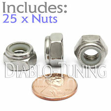 M8-1.25 / 8mm - Qty 25 - Nylon Insert Hex Lock Nut DIN 985 - A2 Stainless Steel