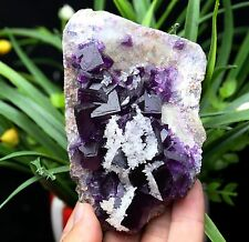 476.8g  New discovered natural beaut Purple fluorite calcite  mineral Specimens
