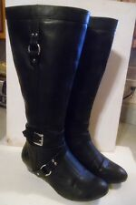 """Ladies Size 9 knee high black fashion boots  Buckles & zippers.  Low 2"""" heels"""