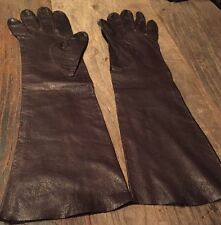 "Vintage Opera Length 15"" Long Brown Kid Leather Gloves For Carson's Sz 7"