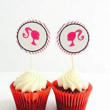 12pcs LADIES PARTY cupcake TOPPERS. Girls party hair Nail Lady Hens Night Barbie