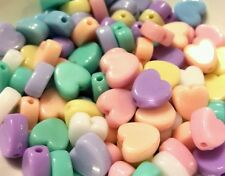100 Pcs MIXED candy colori pastello a forma di cuore plastica perline 8x9mm KAWAII