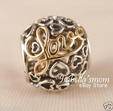 Valentines MESSAGE OF LOVE Genuine PANDORA Silver/14K GOLD Hearts Charm~Bead NEW