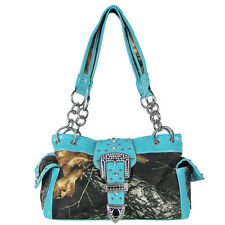 TURQUOISE MOSSY CAMO RHINESTONE BUCKLE SHOULDER HANDBAG WESTERN PURSE BRAND NEW