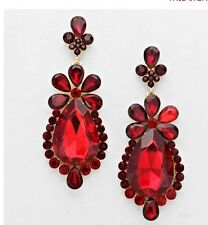 "3"" Red Gold Dangle Drop Rhinestone Prom Long Crystal Pageant Earrings"