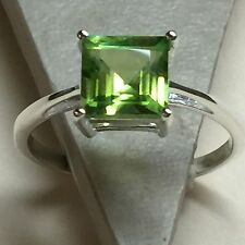 Genuine Princess Cut 2ct Peridot 925 Solid Sterling Silver Solitaire Ring 8.75