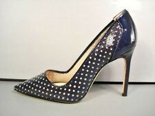 MANOLO BLAHNIK NAVY PATENT LEATHER BB CLASSIC PUMPS HEELS POINTY TOE 37/7 NEW