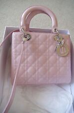 Christian Dior Lady Dior Bag Pink Patent Leather Medium 5 Quilts Tote