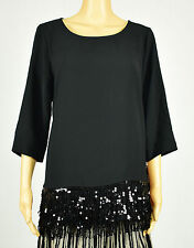 Alfani Womens Black Embellished Fringe Blouse Top Size 6