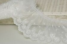 """1yds Broderie gathered eyelet vintage lace trim  3.5"""" white YH729A laceking2013"""