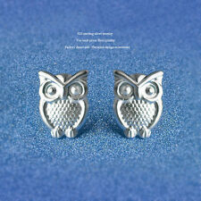 Women's/Girls Silver Plated Stainless Steel Wise Owl Stud Earrings