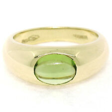 Tiffany & Co. 18K Yellow Gold Oval Cabochon Burnish Peridot Solitaire Band Ring