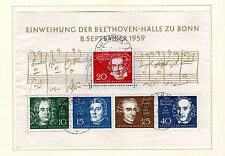 West Germany - 1959 Composers Souvenir Sheet. Scott #804 USED
