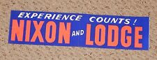 RARE old UNUSED Nixon and Lodge orange & blue political bumper sticker