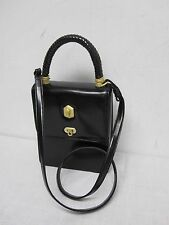 1991 BARRY KIESELSTEIN CORD BLACK ALLIGATOR BRAIDED HANDLE / CROSS BODY HANDBAG
