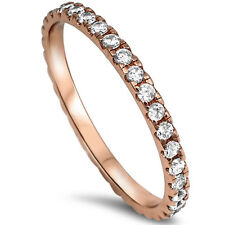 CZ Stackable Wedding Bands Eternity Style .925 Sterling Silver Ring Sizes 2-12