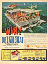 1960 vintage AD EVINRUDE DREAMBOAT CONTEST win pontoon Houseboat nice ad 102515