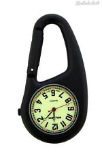 Black Clip on Carabiner FOB Watch Luminous Dial For Doctors Nurses Paramedics