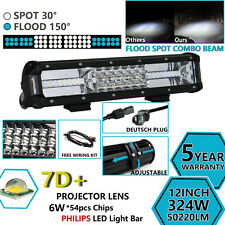 7D+ TRI ROW 12INCH 324W PHILIPS LED LIGHT BAR SPOT FLOOD COMBO TRUCK OFFROAD 12'