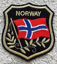 NORWAY FLAG IN SHIELD PATCH Embroidered Badge 7cm x 8cm Norge Scandinavia Sew On