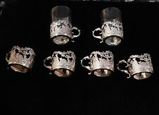 STERLING SILVER CORDIAL CUP HOLDERS  SET ( 6 )   2 GLASSES ANTIQUE FIGURAL