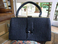 SAC A MAIN EN SIMILI CUIR NOIR VINTAGE 50 BLACK HANDBAG IMITATION LEATHER