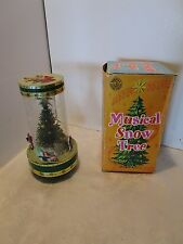 "Vintage Falling Snow Musical Tree IN Box Plays SILENT NIGHT 19 ¼"" h. HONK KONG"