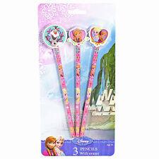 Disney La Reine Des Neiges Elsa,Anna & Olaf 3 Paquet Crayons & Gommes