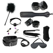 10Pc BDSM Bondage Restraints Kit Set Ball Gag Cuff Whip Collar Fetish Sex Toys