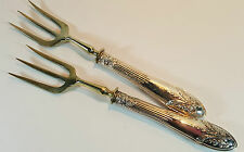 PAIR OF ANTIQUE ORNATE SOLID SILVER HANDLED CONTINENTAL BREAD FORKS 6""