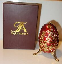 Taylor Avedon Red Enameled Crystal Accented EGG Music Trinket Box - New