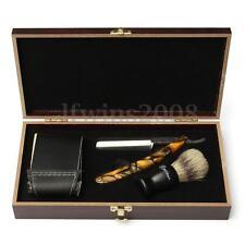Kit Brosse Rasoir Droit Rasage Coupe Choux Barbe Cheveux Blaireau Hommes Cadeaux