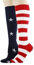 Foot Traffic Red White Blue Stars And Stripes Knee High Womans Ladies Socks New