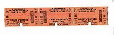 Vintage Admission Ticket strip of 3 EXPOSITION INTERNATIONALE PARIS 1937 Plein