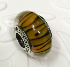 NEW Authentic Pandora 925 silver murano bead charm galss golden tiger