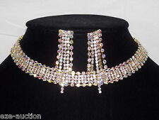 Bridal Gold With Clear & AB Rainbow Rhinestone Choker Necklace Earrings Set
