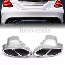 Pair Rear Exhaust Muffler Pipe For Mercedes-Benz W205 C-Class C250 C300 C450 AMG