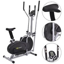 2 IN 1 Elliptical Fan Bike Dual Cross Trainer Machine Exercise Workout Home Gym