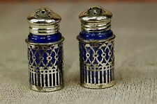Vintage Cobalt Blue Glass Silver Filigree Sleeve Salt  Pepper Shaker Set Japan