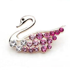 Luxury Gold Tone & Pink Rhinestones Swan Small Brooch Pin BR77