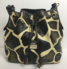Dooney & Bourke Brown Giraffe Drawstring Bucket Handbag Shoulder Bag Medium