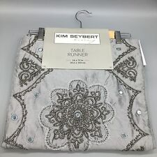 Kim Seybert Beaded Table Runner Gray Silver Beads Designer Holiday Christmas New