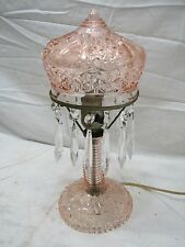 Vintage Cut Glass Pink Bedroom Crystal Pendant Boudoir Table Lamp Daisy Button