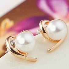 New Fashion Jewelry Rose Gold Plated Pearl Stud Earrings