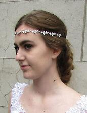 Silver Diamante Daisy Flower Chain Headband Bridal Gem 1920s Vintage Flapper E65