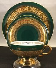 R W Bavaria Emerald Green and Gold Trio - Cup Saucer Luncheon Plate Set