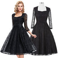 2016 LACE Vintage 50s Style Evening Party Swing Pinup Full Circle Cocktail Dress