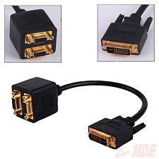 1 ft. DVI-I 24+5 Pins Male to 2 Dual VGA Female Monitor Adapter Splitter Cable